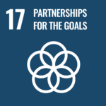 """Blue square that reads """"17 Partnerships for the Goals"""" in white with a design of 5 interlocking circles in white."""